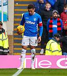 07.04.2019 Motherwell v Rangers: A pie thrown at James Tavernier at the corner flag