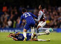 22nd September 2021; Stamford Bridge, Chelsea, London, England; EFL Cup football, Chelsea versus Aston Villa; Saul Niguez of Chelsea challenges Jaden Philogene-Bidace of Aston Villa with a high sliding tackle