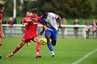 Will Seager of Worthing and Percy Kiangebeni of Enfield Town during Enfield Town vs Worthing, Pitching In Isthmian League Premier Division Football at the Queen Elizabeth II Stadium on 16th October 2021