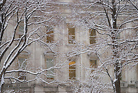Eastern Facade of the Tweed Courthouse (built in 1872 by architect John Kellum) in the Snow  City Hall Park, Lower Manhattan, New York City, New York State, USA.<br /> <br /> The building, owned by The City of New York, is now the headquarters of The New York City Department of Education.