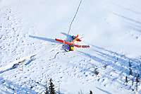 Aerial overlooking a crashed airplane at the Cripple checkpoint during the 2010 Iditarod
