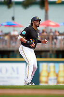 Pittsburgh Pirates designated hitter Michael Morse (38) leads off second base during a Spring Training game against the Toronto Blue Jays  on March 3, 2016 at McKechnie Field in Bradenton, Florida.  Toronto defeated Pittsburgh 10-8.  (Mike Janes/Four Seam Images)