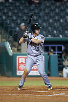 Rob Calabrese (15) of the Augusta GreenJackets at bat against the Greensboro Grasshoppers at First National Bank Field on April 10, 2018 in Greensboro, North Carolina.  The GreenJackets defeated the Grasshoppers 5-0.  (Brian Westerholt/Four Seam Images)