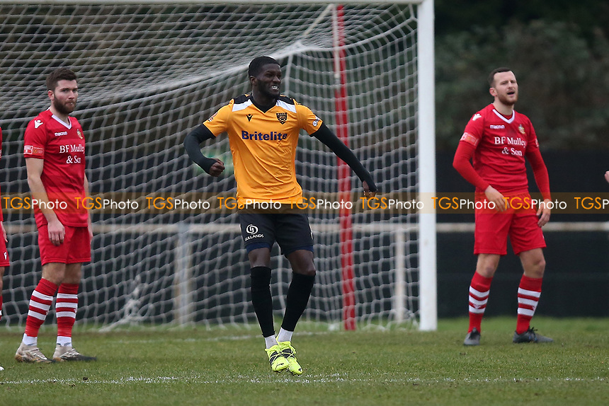 Saidou Khan of Maidstone scores the first goal for his team and celebrates during Hornchurch vs Maidstone United, Buildbase FA Trophy Football at Hornchurch Stadium on 6th February 2021