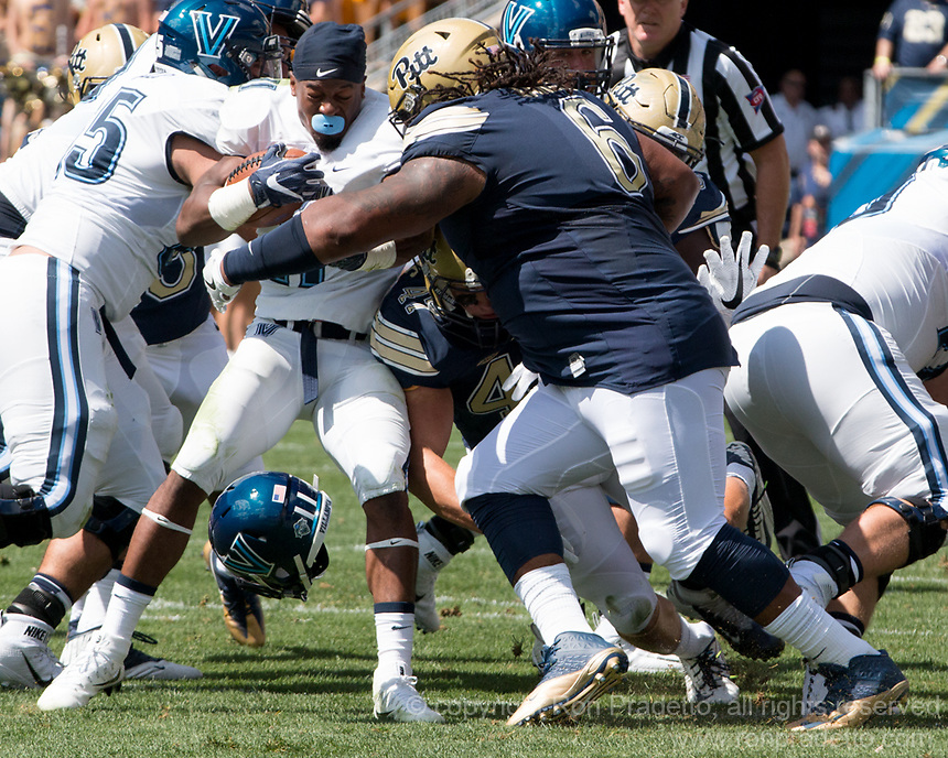 Pitt defensive lineman Tyrique Jarrett makes a tackle. The Pitt Panthers defeated the Villanova Wildcats 28-7 at Heinz Field, Pittsburgh, Pennsylvania on September 3, 2016.