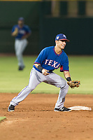 AZL Rangers second baseman Kenen Irizarry (19) prepares to apply the tag to a baserunner during an Arizona League game against the AZL Giants Black at Scottsdale Stadium on August 4, 2018 in Scottsdale, Arizona. The AZL Giants Black defeated the AZL Rangers by a score of 6-3 in the second game of a doubleheader. (Zachary Lucy/Four Seam Images)