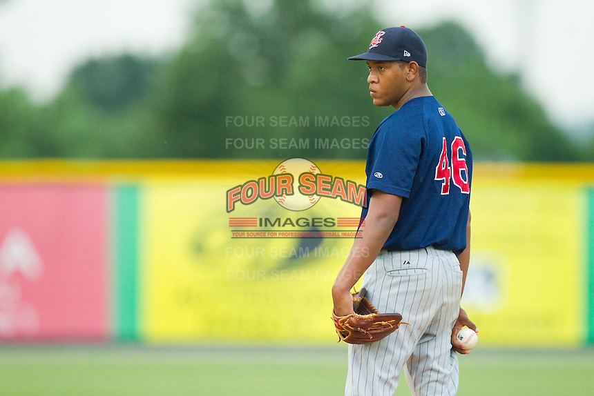 Elizabethton Twins starting pitcher Yorman Landa (46) looks to his catcher for the sign against the Burlington Royals at Burlington Athletic Park on August 11, 2013 in Burlington, North Carolina.  The Twins defeated the Royals 12-5.  (Brian Westerholt/Four Seam Images)