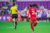ORLANDO, FL - FEBRUARY 24: Jordyn Listro #21 of the CANWNT defends the ball during a game between Brazil and Canada at Exploria Stadium on February 24, 2021 in Orlando, Florida.