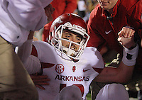 11/7/15<br /> Arkansas Democrat-Gazette/STEPHEN B. THORNTON<br /> Arkansas' QB Brandon Allen is slow to get up but has a smile on his face after  winning the game on his two point conversion in overtime to beat  Ole Miss  Saturday's game in Oxford, Miss.