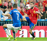 Spain's Daniel Carvajal (r) and Italy's Leonardo Spinazzola during FIFA World Cup 2018 Qualifying Round match. September 2,2017.(ALTERPHOTOS/Acero)