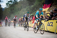 Jakob Fuglsang (DEN/Astana) up the gravel section in the final stretch to the finish line up La Planche des Belles Filles<br /> <br /> Stage 6: Mulhouse to La Planche des Belles Filles (157km)<br /> 106th Tour de France 2019 (2.UWT)<br /> <br /> ©kramon