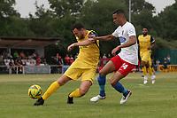 Jordan Clark of Hornchurch and George Saunders of Dagenham during Hornchurch vs Dagenham & Redbridge, Friendly Match Football at Hornchurch Stadium on 24th July 2021