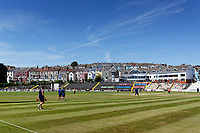 Pictured: St Helen's Cricket Ground. Friday 22 June 2018<br /> Re: Lawrence Booth is interviewing Malcolm Nash, the bowler who was hit for six sixes by Garry Sobers 50 years ago, at the St Helen's cricket ground, Swansea, Wales, UK.