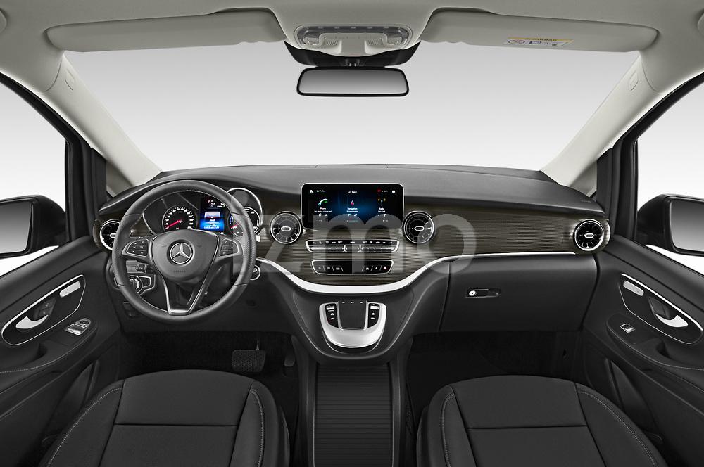 Stock photo of straight dashboard view of 2021 Mercedes Benz EQV - 5 Door Passanger Van Dashboard