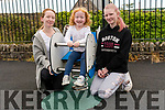 Katie, Melanie and Hazel Hughes enjoying the Dingle playground on Monday.