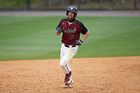 Cameron Norgren (17) of the North Carolina Central Eagles rounds the bases after hitting a home run against the North Carolina A&T Aggies at Durham Athletic Park on April 10, 2021 in Durham, North Carolina. (Brian Westerholt/Four Seam Images)