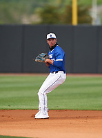 IMG Academy Ascenders second baseman Stone Russell (13) during the IMG National Classic on March 29, 2021 at IMG Academy in Bradenton, Florida.  (Mike Janes/Four Seam Images)