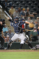 Tampa Yankees catcher Kyle Higashioka (25) throws down to second during a game against the Fort Myers Miracle on April 15, 2015 at Hammond Stadium in Fort Myers, Florida.  Tampa defeated Fort Myers 3-1 in eleven innings.  (Mike Janes/Four Seam Images)