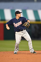Gwinnett Braves shortstop Sean Kazmar (9) throws to first during a game against the Buffalo Bisons on May 13, 2014 at Coca-Cola Field in Buffalo, New  York.  Gwinnett defeated Buffalo 3-2.  (Mike Janes/Four Seam Images)