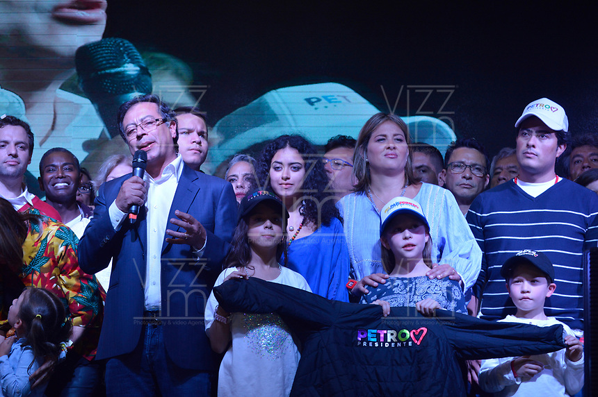 BOGOTA - COLOMBIA, 17-06-2018: Gustavo Petro, candidato presidencial por el partido Coalición Petro Presidente, durante su discurso después de la segunda vuelta de las elecciones presidenciales de Colombia 2018 hoy domingo 17 de junio de 2018. El candidato ganador gobernará por un periodo máximo de 4 años fijado entre el 7 de agosto de 2018 y el 7 de agosto de 2022. / Gustavo Petro, presidential candidate for Coalicion Petro Presidente party, during his speech after Colombia's second round of 2018 presidential election today Sunday, June 17, 2018. The winning candidate will govern for a maximum period of 4 years fixed between August 7, 2018 and August 7, 2022. Photo: VizzorImage / Diego Cuevas / Cont