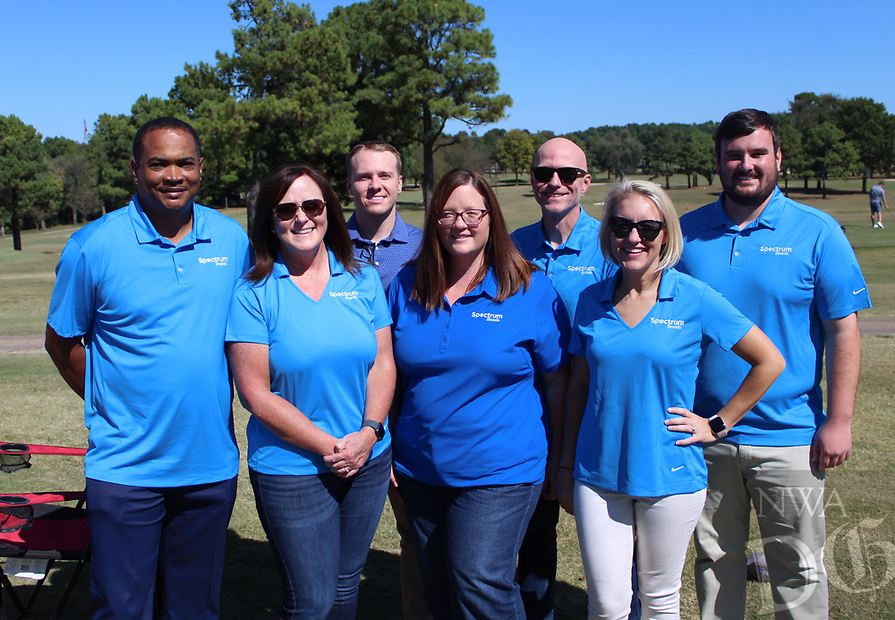 Kendell Whidbee (from left), Lori Littrell, Alex Cooper, Kara Reinbolt, Kenneth Medlin, Danna Young and Brandon Anthes represent Spectrum Brands at the Jones Center golf benefit Oct. 5.<br />