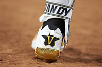 A detail view of a Vanderbilt Commodores players cleat against the Houston Cougars during game nine of the 2018 Shriners Hospitals for Children College Classic at Minute Maid Park on March 3, 2018 in Houston, Texas. The Commodores defeated the Cougars 9-4. (Brian Westerholt/Four Seam Images)