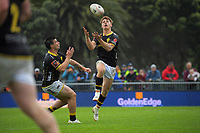 Ruben Love takes a high ball with support from Jackson Garden-Bachop (left) during the Mitre 10 Cup rugby match between Wellington Lions and Tasman Makos at Jerry Collins Stadium in Wellington, New Zealand on Saturday, 31 October 2020. Photo: Dave Lintott / lintottphoto.co.nz