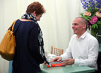 Monday 30 May 2016. Hay on Wye, UK<br />Former Greek Finance Minister Yanis Varoufakis signing copies of his book<br />Hay Festival, Hay on Wye, Wales, UK