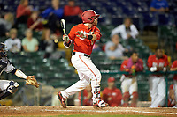 Ohio State Buckeyes second baseman L Grant Davis (50) at bat during a game against the Pitt Panthers on February 20, 2016 at Holman Stadium at Historic Dodgertown in Vero Beach, Florida.  Ohio State defeated Pitt 11-8 in thirteen innings.  (Mike Janes/Four Seam Images)