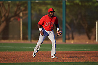 AZL Angels first baseman Cristian Gomez (37) during an Arizona League game against the AZL D-backs on July 20, 2019 at Salt River Fields at Talking Stick in Scottsdale, Arizona. The AZL Angels defeated the AZL D-backs 11-4. (Zachary Lucy/Four Seam Images)