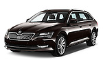 2016 Skoda Superb Combi Laurin & Klement 5 Door Wagon Angular Front stock photos of front three quarter view