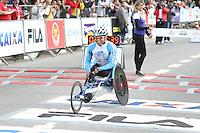 SÃO PAULO, SP, 17.05.2015 - MARATONA-SP Fernando Aranha Rocha primeiro colocado da prova de cadeirantes da XXI Maratona Internacional de São Paulo, na manhã deste domingo dia 17, com largada iniciada no Obelisco do Parque do Ibirapuera. (Foto Amauri Nehn/Brazil Photo Press)