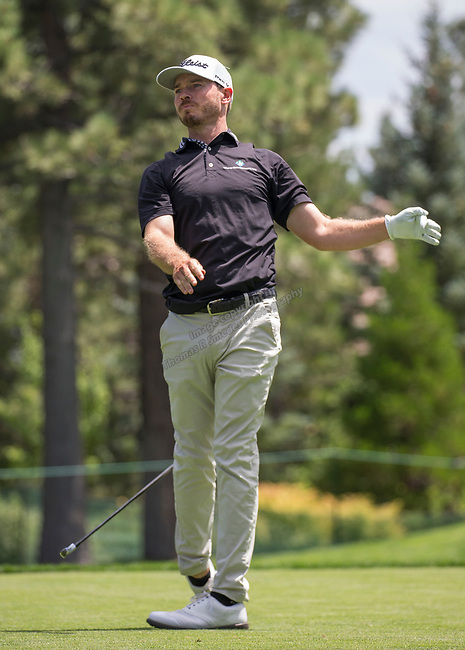 Bronson Burgoon watches his shot during the Barracuda Championship PGA golf tournament at Montrêux Golf and Country Club in Reno, Nevada on Sunday, July 28, 2019.