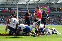 Referee George Clancy of ireland goes to the TMO to check if Chris Baumann of USA has scored a try (which was subsequently awarded) during Match 6 of the Rugby World Cup 2015 between Samoa and USA - 20/09/2015 - Brighton Community Stadium, Brighton <br /> Mandatory Credit: Rob Munro/Stewart Communications