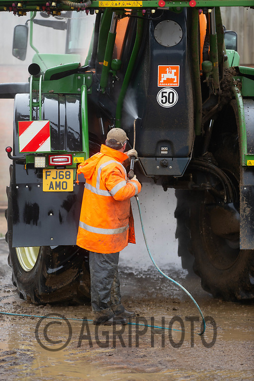 10/12/2020 Steam cleaning a crop sprayer ready for Winter storage. <br /> ©Tim Scrivener Photographer 07850 303986<br />      ....Covering Agriculture In The UK....