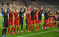 Belgian players  pictured celebrating after winning a female soccer game between the national teams of Belgium , called the Red Flames and Albania in the second game in the qualification for the  FIFA Women's World Cup in group F , on tuesday 21 st of September 2021  in Brussels , Belgium . PHOTO SPORTPIX