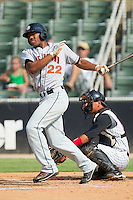 Destin Hood #22 of the Hagerstown Suns follows through on his swing against the Kannapolis Intimidators at Fieldcrest Cannon Stadium August 8, 2010, in Kannapolis, North Carolina.  Photo by Brian Westerholt / Four Seam Images