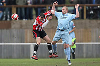 Dave Collis of Billericay tangles with Martin Tuohy of Hornchurch - AFC Hornchurch vs Billericay Town - Ryman League Premier Division Football at The Stadium, Upminster Bridge, Essex - 09/04/12 - MANDATORY CREDIT: Gavin Ellis/TGSPHOTO - Self billing applies where appropriate - 0845 094 6026 - contact@tgsphoto.co.uk - NO UNPAID USE
