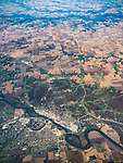 Ottumwa, Iowa, Des Moines River, and farm lands, America's flyover country: SMF-LAX-MDW