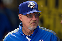Round Rock Express manager Bobby Jones in the dugout during the Pacific Coast League baseball game against the New Orleans Zephyrs on April 21, 2013 at the Dell Diamond in Round Rock, Texas. Round Rock defeated New Orleans 7-1. (Andrew Woolley/Four Seam Images).