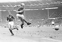 30.07.1966. Wembley Stadium, London England,  World Cup Final 1966 England versu Germany. 4-2 after extra time. Bobby Charlton takes a shot on goal in front of team mate Roger Hunt both England