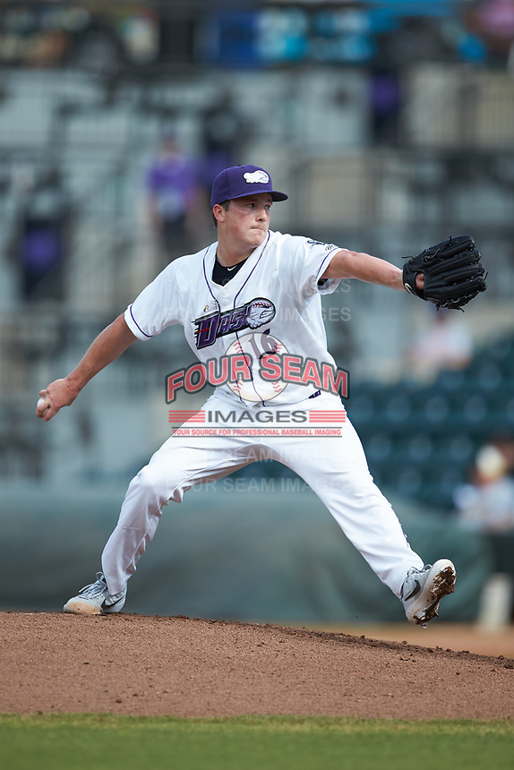 Winston-Salem Dash starting pitcher Jordan Stephens (16) in action against the Carolina Mudcats at BB&T Ballpark on June 1, 2019 in Winston-Salem, North Carolina. The Mudcats defeated the Dash 6-3 in game one of a double header. (Brian Westerholt/Four Seam Images)