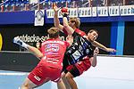 07.10.2020, Klingenhalle, Solingen,  GER, 1. HBL. Herren, Bergischer HC vs. HC Erlangen, <br /> <br /> im Bild / picture shows: <br /> Tomas Babak (BHC #19), im Zweikampf gegen  Jan Schäffer / Schaeffer (HC Erlangen #25), <br /> <br /> <br /> Foto © nordphoto / Meuter *** Local Caption ***