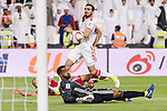 Goalkeeper Khalid Eisa Bilal of United Arab Emirates (bottom) reaches for the ball after an attempt at goal by Hamid Ismaeil Khaleefa of Qatar (back) during the AFC Asian Cup UAE 2019 Semi Finals match between Qatar (QAT) and United Arab Emirates (UAE) at Mohammed Bin Zaied Stadium  on 29 January 2019 in Abu Dhabi, United Arab Emirates. Photo by Marcio Rodrigo Machado / Power Sport Images