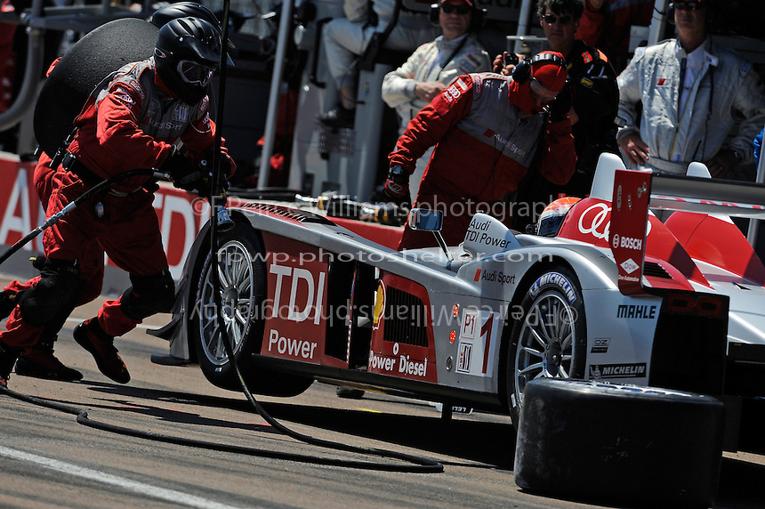 4-5 April 2008, St Petersburg, Florida, USA.The Audi crew springs into action during a pit stop..©2008 F.Peirce Williams, USA .