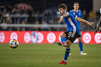 SAN JOSE, CA - SEPTEMBER 4: Eric Remedi #5 of the San Jose Earthquakes passes the ball during a game between Colorado Rapids and San Jose Earthquakes at PayPal Park on September 4, 2021 in San Jose, California.