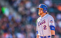20 April 2013: New York Mets infielder Justin Turner looks back to the dugout during game action against the Washington Nationals at Citi Field in Flushing, NY. The Mets fell to the visiting Nationals 7-6, tying their 3-game weekend series at one a piece. Mandatory Credit: Ed Wolfstein Photo *** RAW (NEF) Image File Available ***