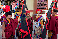 Nepal, Kathmandu, Swayambhunath.  Young Tibetan Buddhist Monks at a Ceremony.