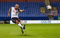 Bolton Wanderers' Alex John-Baptiste crosses<br /> <br /> Photographer Andrew Kearns/CameraSport<br /> <br /> The EFL Sky Bet League Two - Bolton Wanderers v Salford City - Friday 13th November 2020 - University of Bolton Stadium - Bolton<br /> <br /> World Copyright © 2020 CameraSport. All rights reserved. 43 Linden Ave. Countesthorpe. Leicester. England. LE8 5PG - Tel: +44 (0) 116 277 4147 - admin@camerasport.com - www.camerasport.com
