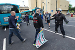 © Joel Goodman - 07973 332324 - all rights reserved . 03/06/2017 . Liverpool , UK . EDL supporters and anti-fascists clash on the streets . Hundreds of police manage a demonstration by the far-right street protest movement , the English Defence League ( EDL ) and an demonstration by opposing anti-fascists , including Unite Against Fascism ( UAF ) . Photo credit : Joel Goodman